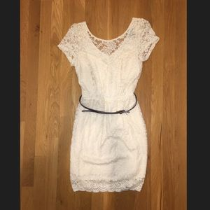 American Rag White Lace Dress with Belt